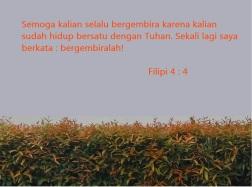 bergembira hidup bersatu dengan Tuhan